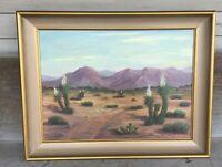 Vintage Oil on Canvas Painting DESERT LANDSCAPE Cacti Cactus signed BELLE MESSER
