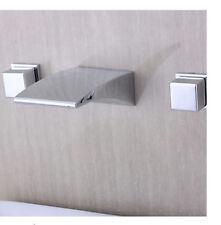 Wall Mounted Waterfall Bathroom Basin Faucet Dual Square Handles Sink Mixer Tap