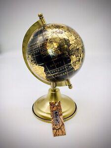 Globe Small  World Globe On Metal Base Vintage Display Desk Top Black Gold