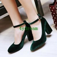 Chic Ladies Retro Party Shoes Velvet High Heels Pointy Toe Shoes Pumps Fashion