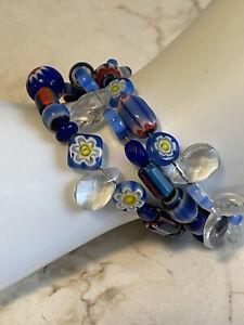 Blue Millefiori Wrap Bracelet