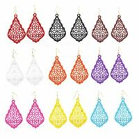 Designer Inspired Jewelry Bell Style Flat Metal Filigree Earrings Bright Colors