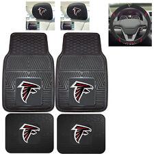 7pc NFL Atlanta Falcons Heavy Duty Rubber Floor Mats & Steering Wheel Cover