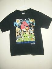 Angry Birds Kids Boys Shirt Graphic T-Shirt Size 10/12 Black Short Sleeve