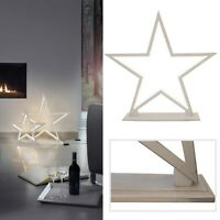 Tischleuchte LED Deko Boden Lampe Stern Silhouette Lucy Wood Sompex Holz 53cm