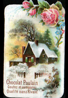 IMAGE CHROMO CHOCOLAT POULAIN / FLEURS ROSE & MYOSOTIS / VILLA en hiver