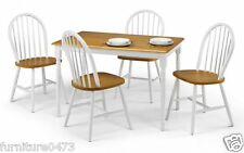 Solid Wood White / Oak Dining Table & 4 Chairs W114cm x D71cm x H74cm OSCO