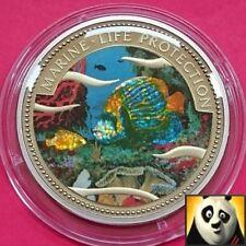 Palau 2001 $1 DOLLARO Vita Marina PROTEZIONE COLORATA Imperator & Pesce Pagliaccio Coin