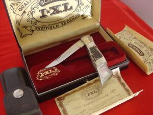 "Schrade IXL Wostenholm England stag 4.25"" lockback knife MINT IN BOX"