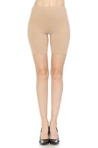 JJ Women's Cotton Bike Shorts Yoga Burmuda Knee Length Leggings - Made In USA