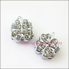 3Pcs Crystal Rhinestone Slide Clover Leaf Beads Charms Wristband DIY Bracelets