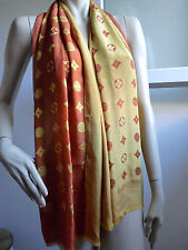 "ÉTOLE FOULARD ÉCHARPE ""LOUIS VUITTON"" SOIE ORANGE JAUNE"
