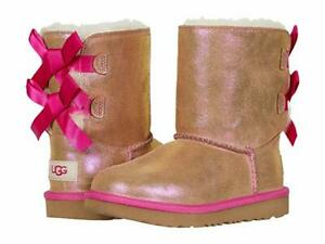 NEW TODDLER  BOOT UGG  BAILEY BOW II CHESTNUT SHIMMER WATER RESIS 1106430T