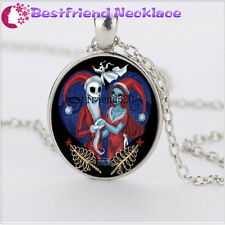 Nightmare Before Christmas skull jack&sally silver necklace jewelry#YKL9
