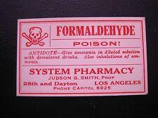 VTG Formaldehyde Poison System Pharmacy Gummed Back Paper Label Apothecary  Rx