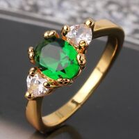 HOT Unique Woman 24k yellow gold filled lady sapphire DASHING Ring SzJ-SzR