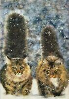 Cat Art Cute KITTENS Very Fluffy Tails Snow Winter Modern New Russian Postcard