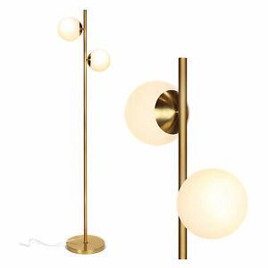 Brightech Sphere Globe Light Standing Floor Lamp with LED Bulbs, Gold Brass