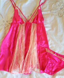NWT Victoria's Secret Liquid Satin Lace Babydoll Bikini Set S Pink Beige