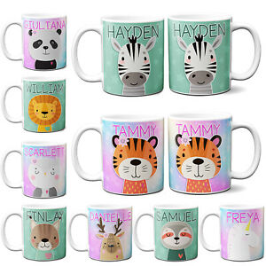 Personalised Childrens Mug Cute Animal Kids Cup Girls Boys Birthday Llama Gift