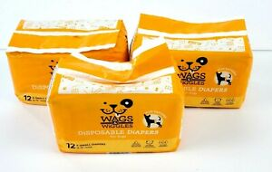 """3 PACK Wags & Wiggles X-Small Dogs Disposable Male Dog Diapers 12""""-15"""" In Waist"""