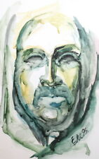 1996 Impressionist Watercolor Painting Face Portrait Signed