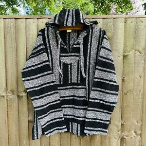 Mexican Baja Hoodie Hippy Festival Jumper Black White Striped - Large