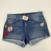 7 For All Mankind 7FAMK Floral Embroidered Cut Off Shorts Size 26 Jean Blue 3060