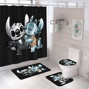 Cartoon Shower Curtain Bathroom Rug Set Thick Bath Mat Non-Slip Toilet Lid Cover