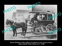 OLD LARGE HISTORIC PHOTO OF DETROIT MICHIGAN THE DETROIT POLICE WAGON No5 c1900
