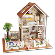 DIY Wooden Dolls house Miniature Kit w/ LED & Music-with All Furniture