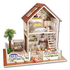 DIY Wooden Dollhouse Miniature Kit -Paris apartment & Furniture & lED Light