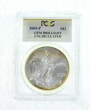 GEM BU 2005-P American Silver Eagle - Graded PCGS *183