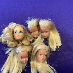 BARBIE DOLL HEADS (5) ALL HAVE NECK SPLITS. ONE HAS HAIR MISSING. (M-23).