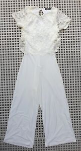 💜 BOOHOO Cocktail Lace Wide-Leg Jumpsuit White Ivory Size 4P Buy7=FreePost L819