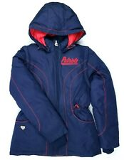 Reebok NFL Womens S Patriots Puffer Jacket Vest Zip Off Sleeve Hooded Blue Red