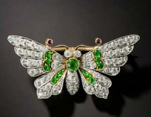 Vintage Butterfly Brooch Pin 5.68Ct Ruby Emerald & Diamond 14K Yellow Gold Over