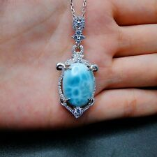 Natural Dominica Larimar Gemstone Sterling S925 Women's Necklace Pendant