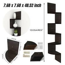 5-Tier Corner Art Shelf Wall Mount Floating Display ZigZag Storage Rack Shelves-