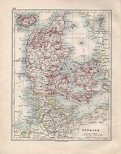 Carte de 1914 ~ danemark ~ zealand copenghagen jutland islande féroé