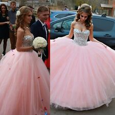 Light Pink Quinceanera Dresses Rhinestone Beaded Sweetheart Neck Puffy Ball Gown