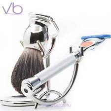 RAZOR MD - iGrip Chrome Shave Set For Men - 5 Blade Razor Gillette Badger Brush