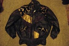 womens vTg john weitz black & gold patch suede & leather coat size large