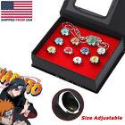 10 Pcs Naruto Rings Set NARUTO Akatsuki Member's Cosplay Ring in Box With Chain