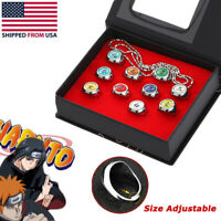 10 Pcs Naruto Rings Set NARUTO Akatsuki Member's Cosplay Ring in Box With Chain