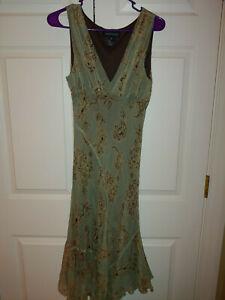 Women Jonathan Martin Studio Silk Handkerchief Boho Green Floral Dress Size 6