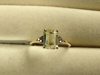 Rare Canary Kunzite Solitaire & Champagne Diamond 10K Y Gold Ring Size N-O/7