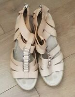 CLARKS LEATHER WEDGE HEELS SANDALS PLATFORM  SHOES COLOUR BEIGE  SIZE UK 7.5 D