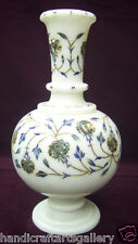 "10"" Marble Flower Vase Lapis Lazuli Home Decor Inlay Pietradure Floral Art H2089"