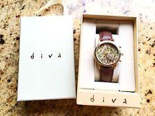 Miss Selfridge Diva Brown Floral Flower Print Watch In Gift Box Gold Tone